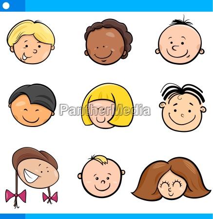 cartoon boys and girls set