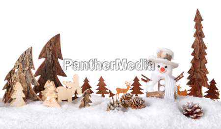 wood decoration as cheerful winter scene