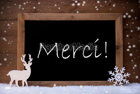 vintage christmas card blackboard snow merci