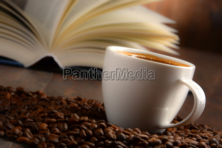 composition with white cup of coffee