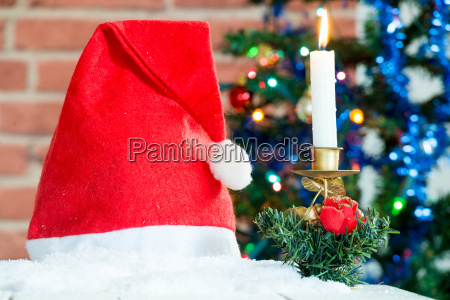 christmas decorations with a red cap