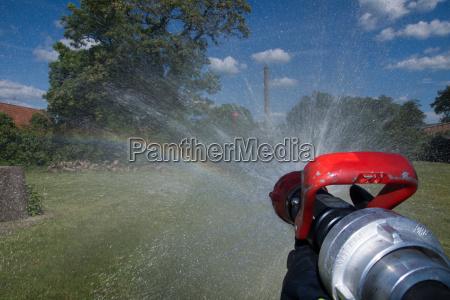 fire brigade jet pipe in use