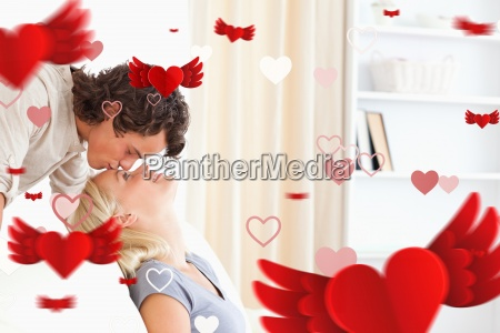 composite image of man kissing his