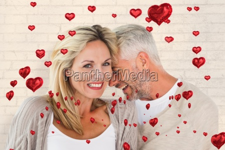 composite image of happy couple laughing