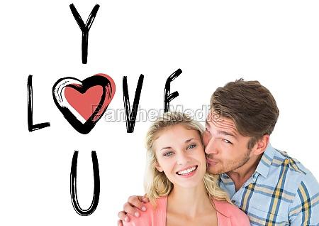 composite image of handsome man kissing