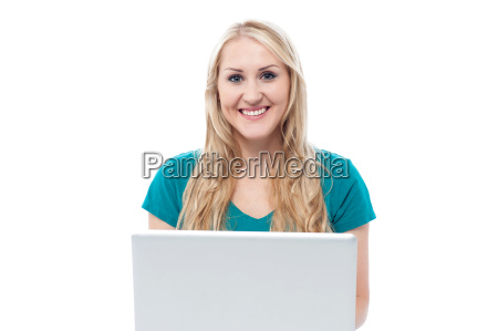charming lady using laptop