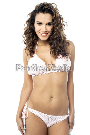 sexy lady in bikini isolated over