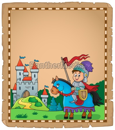 parchment with knight on horse theme
