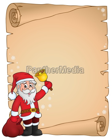 santa claus with bell theme parchment