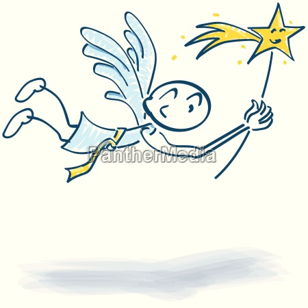 stick figure flying angel with star