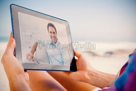 composite image of smiling handsome man
