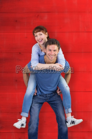 composite image of man giving girl