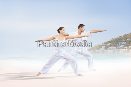 composite image of peaceful couple in