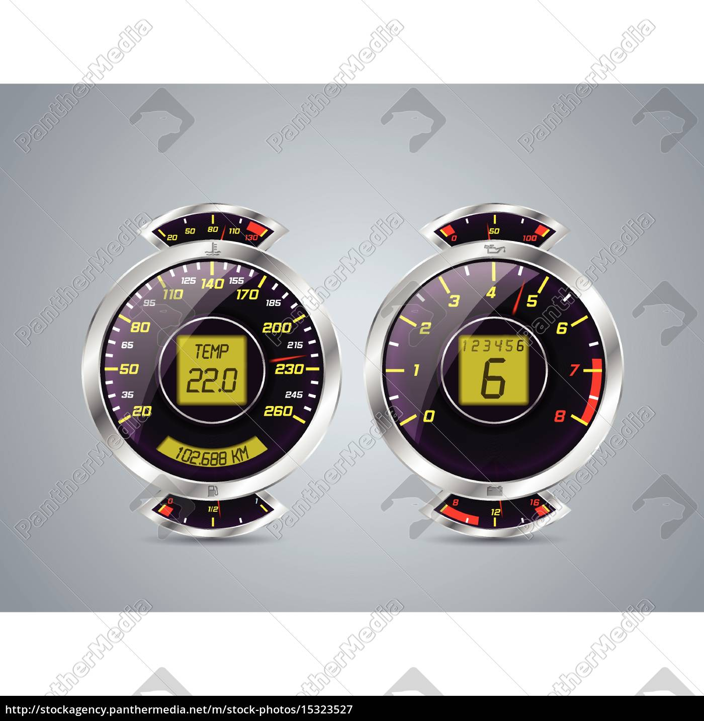 royalty free vector 15323527 - Shiny metallic speedometer and rev counter