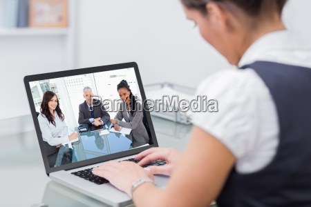 composite image of smiling director sitting