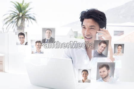 composite image of smiling man using
