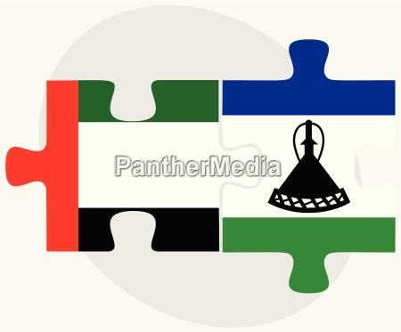 united arab emirates and lesotho flags