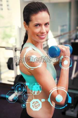 composite image of fit brunette lifting