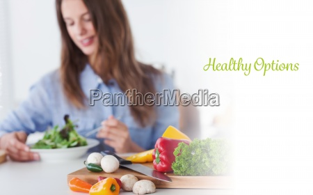 healthy options against pretty woman eating