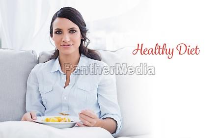 healthy diet against pretty woman sitting