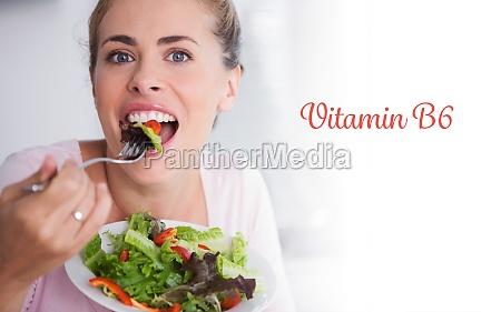vitamin b6 against casual blonde posing