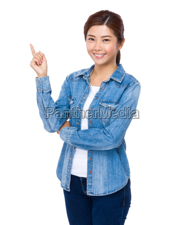 woman with finger showing up