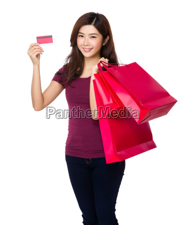 asian young woman hold with shopping