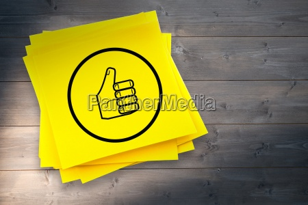composite image of thumbs up graphic