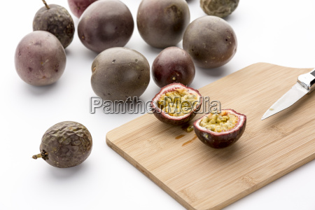 freshly halved passion fruit on a