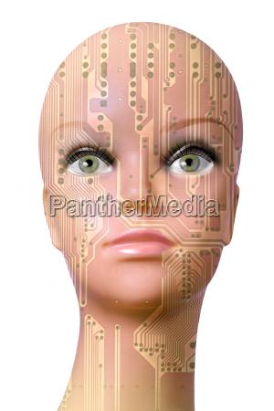 female cyborg head isolated on white