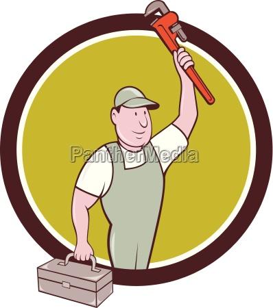plumber toolbox raising monkey wrench circle