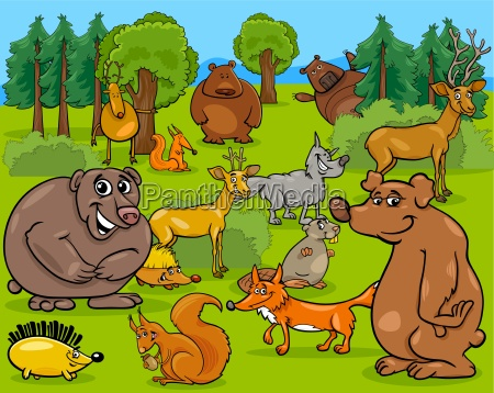 forest animals cartoon illustration
