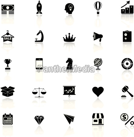 marketing strategy icons with reflect on