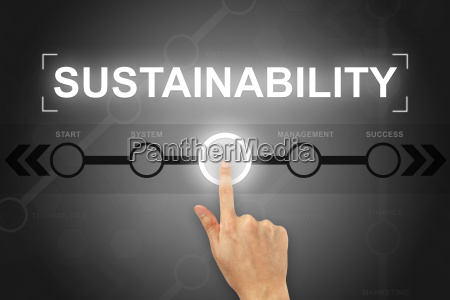 hand clicking sustainability button on a