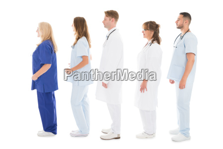 side view of medical professionals standing