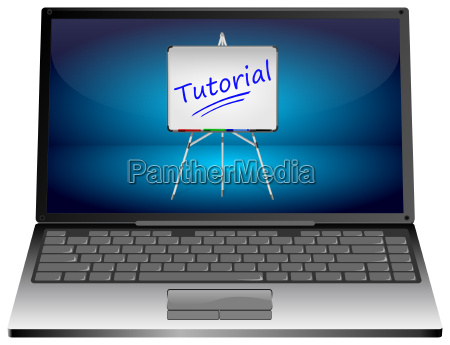 laptop computer with tutorial