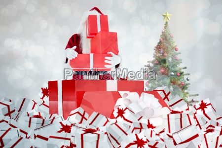 composite image of santa standing in