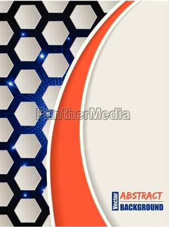 bursting hexagon brochure with orange wave