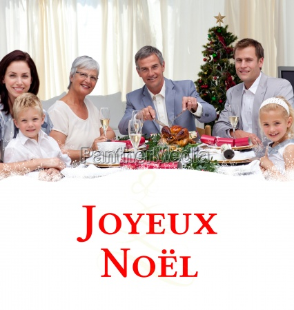 composite image of family eating turkey