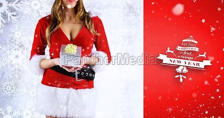 composite image of sexy santa girl