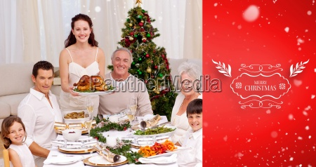 composite image of family celebrating christmas