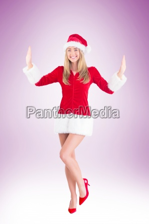 pretty santa girl posing with hands