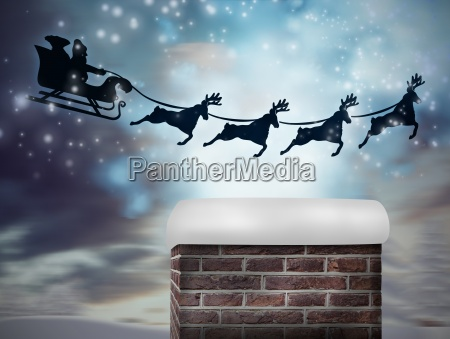 composite image of santa flying his