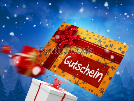 composite image of flying gift card