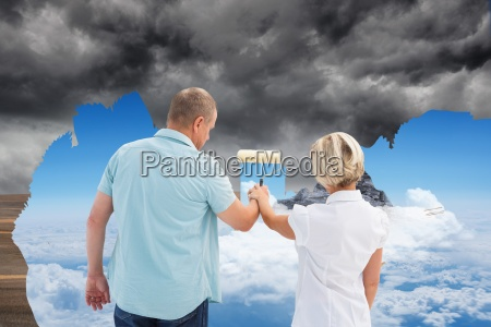 composite image of happy older couple