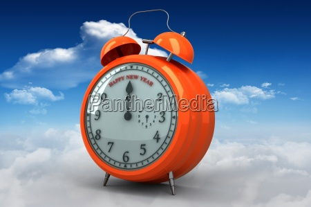 composite image of new year alarm