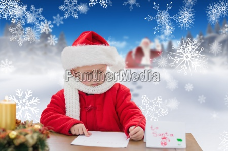 composite image of cute boy drawing