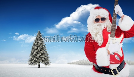 composite image of santa with sunglasses