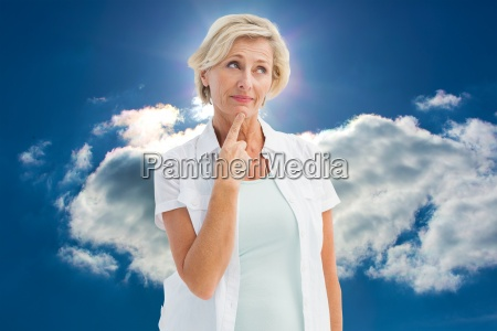 composite image of mature woman thinking