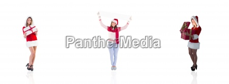 composite image of santa girl opening